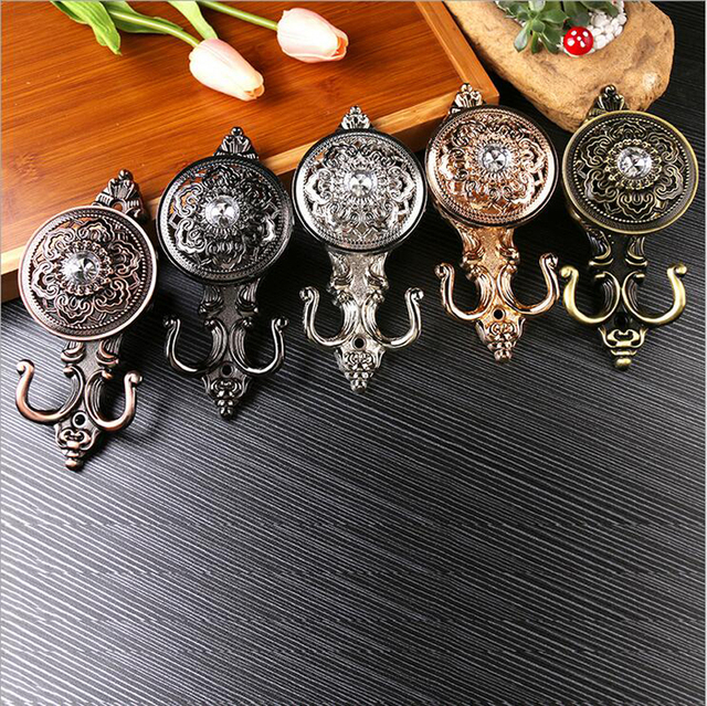 Crystal curtain hook European style Home decor Pothook Curtain accessories 1 pair rose bronze Decorative wall hooks for hanging