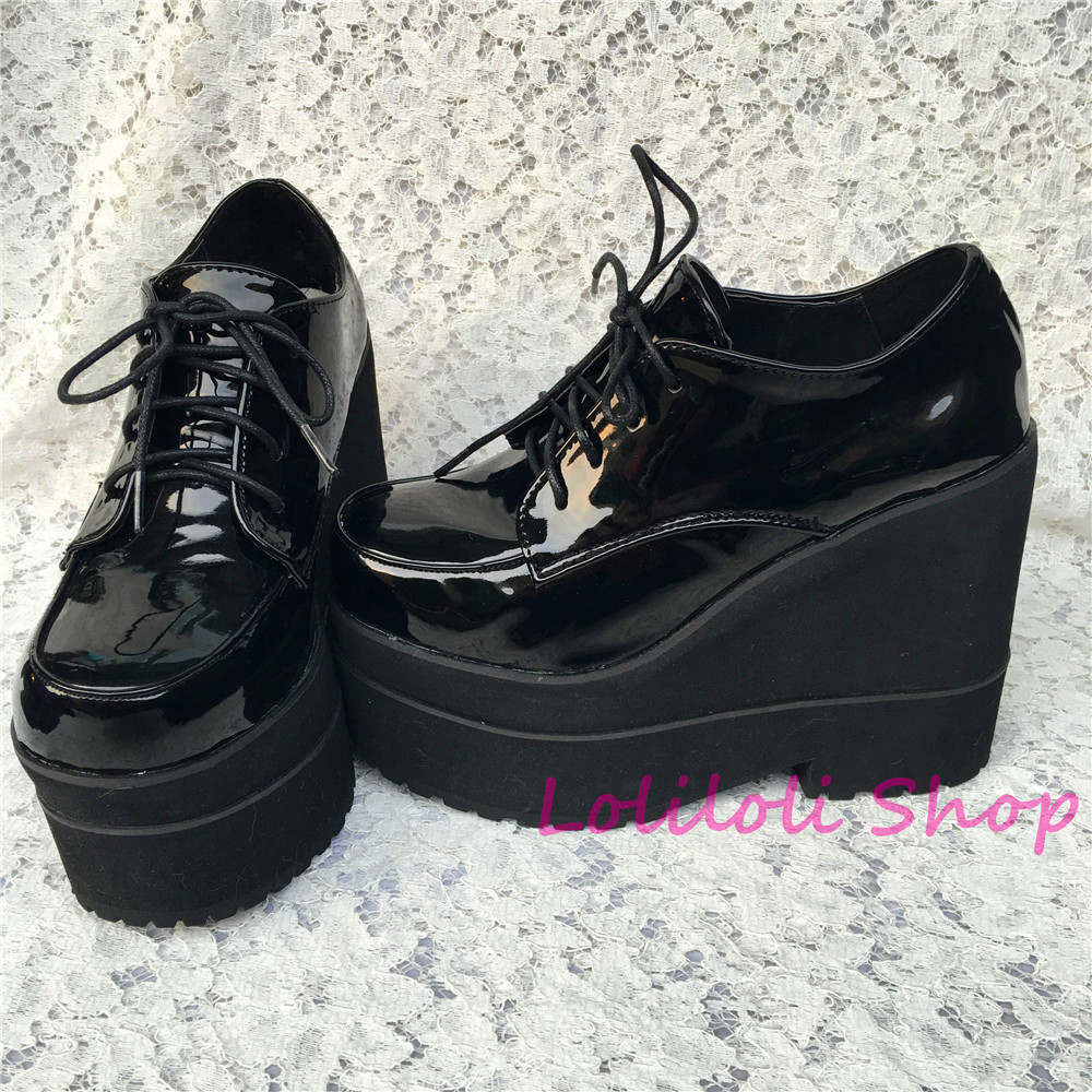 Princess sweet gothic lolita shoes Lolilloliyoyo antaina shoes custom thick bottom black bright skin flat platform shoes 5235s купить