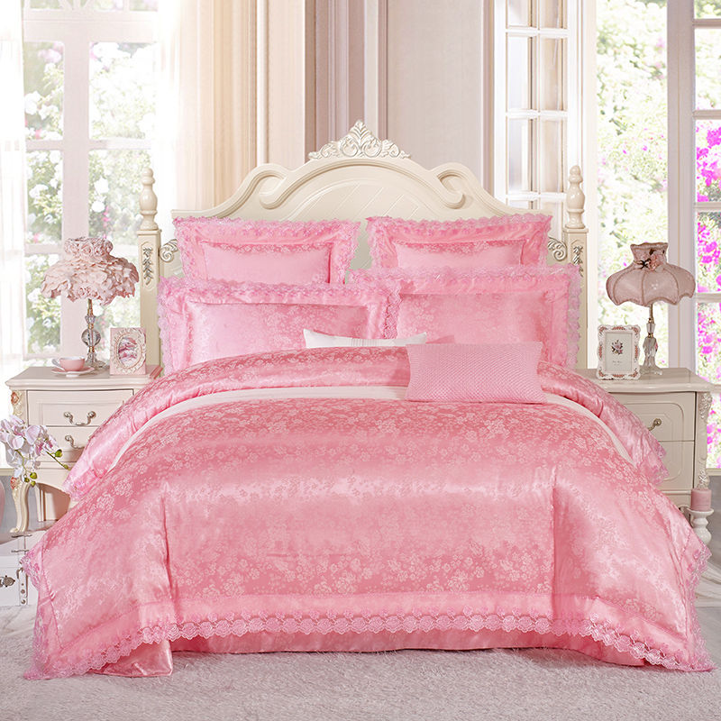Permalink to bedding set silk cotton jacquard luxury stain bed set bed cover spring sheet 4/6pcs/set Queen king duvet set cover bed bedclothe
