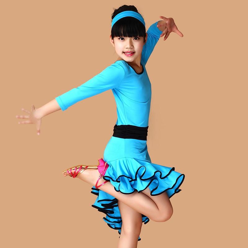 Picture of Girl Kids Long Sleeves Satandard Latin Dance Dress Children Ballroom Dance Dresses Salsa Rumba Tango Samba Cha Cha Costumes