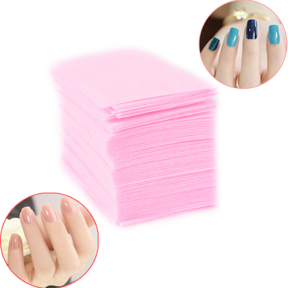 100 pièces rose non pelucheux lingettes tout pour manucure vernis à ongles dissolvant tampons papier ongles Cutton tampons manucure pédicure Gel outils