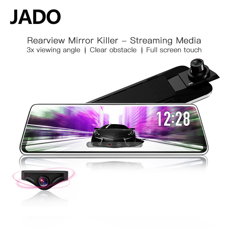 JADO Stream зеркало заднего вида Dvr dash cam era avtoregistrator 10 ips сенсорный экран Full HD 1080 P Автомобильный Dvr регистратор ночного видения