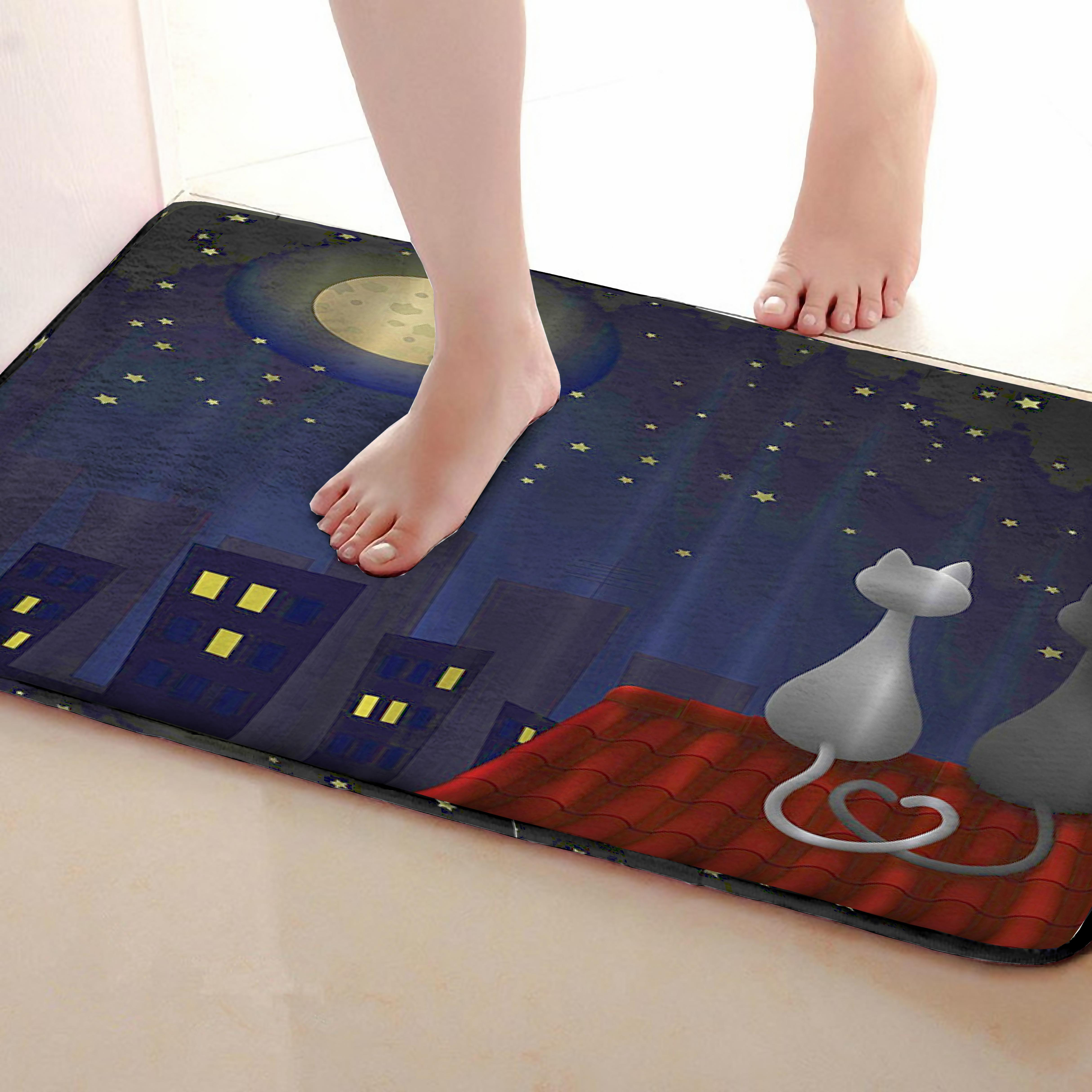 Cats Style Bathroom Mat,Funny Anti Skid Bath Mat,Shower Curtains Accessories,Matching Your Shower Curtain