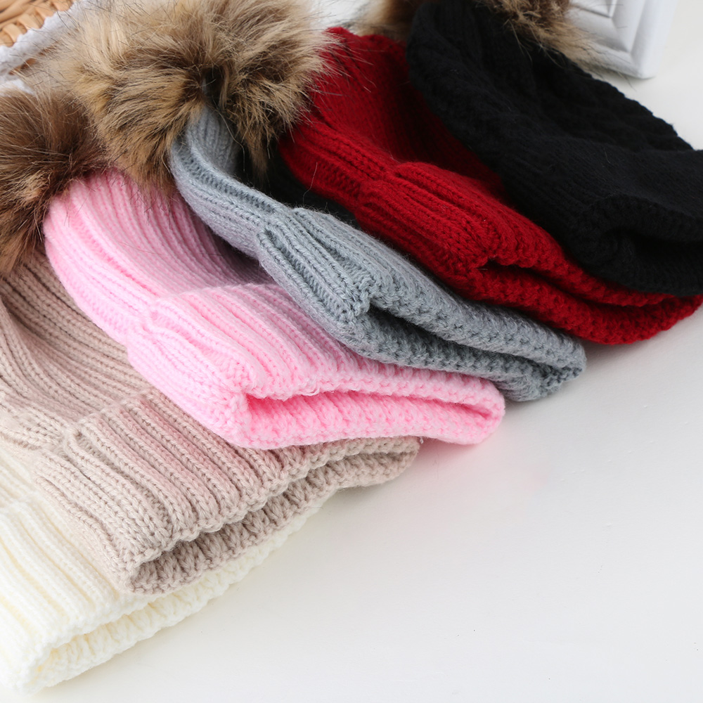 Fashion Women Kids Winter Warm Hat Soft Crochet Knitted Wool Fur Beanies Double Pompom Ball Knitting Wool Cap the new children s cubs hat qiu dong with cartoon animals knitting wool cap and pile
