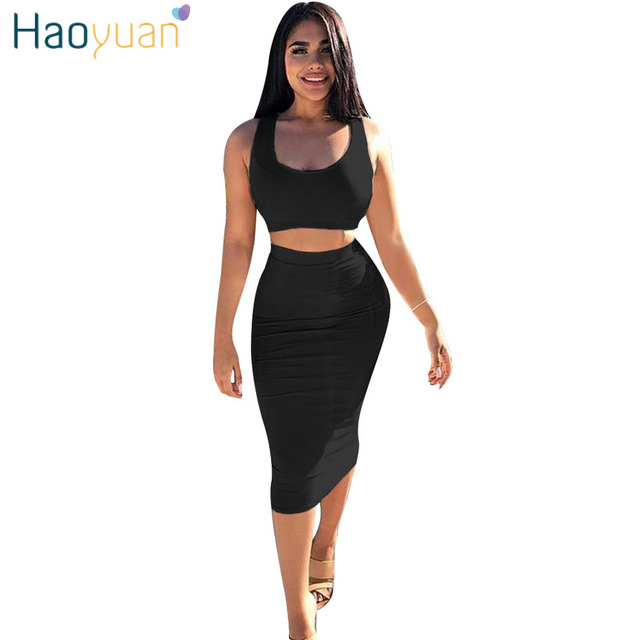 70d3a1bb1d92 HAOYUAN Two Piece Set Bodycon Dress 2018 Sundress Black Red Vestidos Robe  Elegant Tight Sexy Party Dresses Women Summer Dress