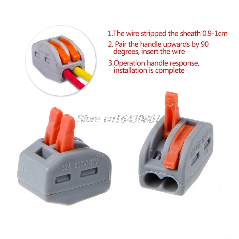 20Pcs Wago type transparent wire connector 2 Pole Terminal Block 400V 32A New XQ Drop shipping
