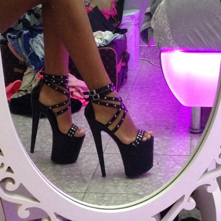 20cm black wedding sandals 8 inches high heels open toed shoes platform of fashionable women high heels pump sexy sandals-in High Heels from Shoes    2