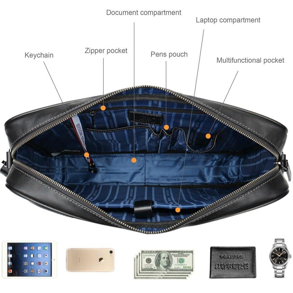 Männlichen Männer Zoll Business Laptop Umhängetasche 14 Denim Mode Reise Marke Rindsleder Bison N2610 Berühmte Handtasche Tasche wtH78n1q