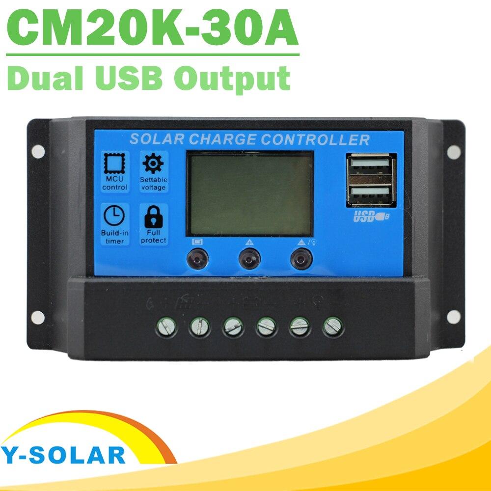 Solar Charge Controller 30A LCD Dual USB Output 5V Mobile Charger 12V 24V Adjuatable Parameter Solar Panel Regulator CM20K-30A diy 5v 2a voltage regulator junction box solar panel charger special kit