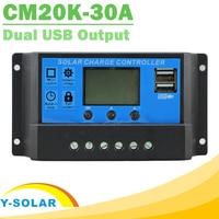 Solar Charge Controller 30A LCD Dual USB Output 5V Mobile Charger 12V 24V Adjuatable Parameter Solar Panel Regulator CM20K-30A