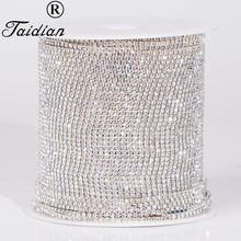 URORU Crystal Rhinestone Banding,Silver Base Clear Crystal ,SS6 SS8 SS12 SS16 6yard/lot Diy Accessory AM TAIDIAN