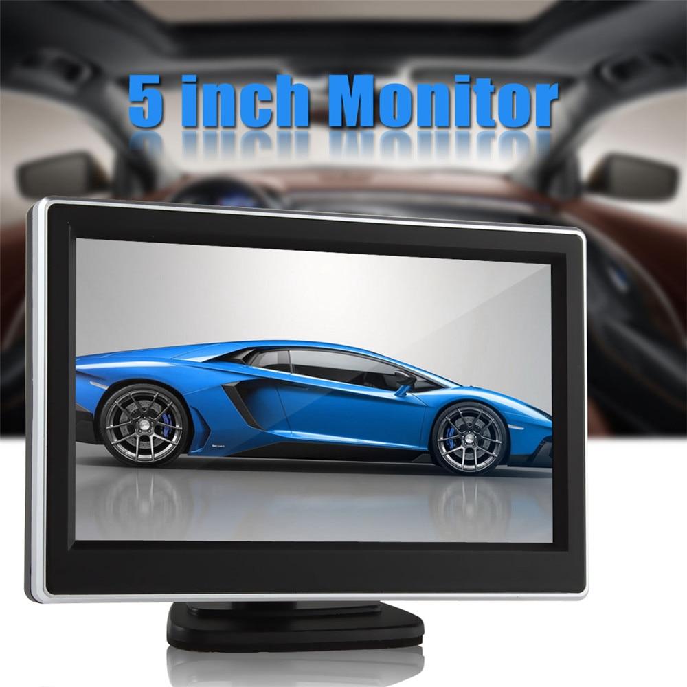 5 tums Universal DC12V 480 x 272 pixel TFT LCD Digital Panel Färgbil Bakifrånskärm med 2 videoingång