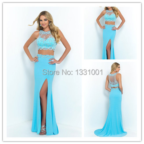 Blue 2 piece prom dress teal | Kica style dress 2018