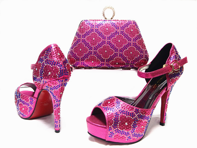 ФОТО Fuchsia Shoes and Bag To Match Italian African Shoe and Bag Set Women Shoe and Bag To Match for Parties Afrcain Shoe JA10-2
