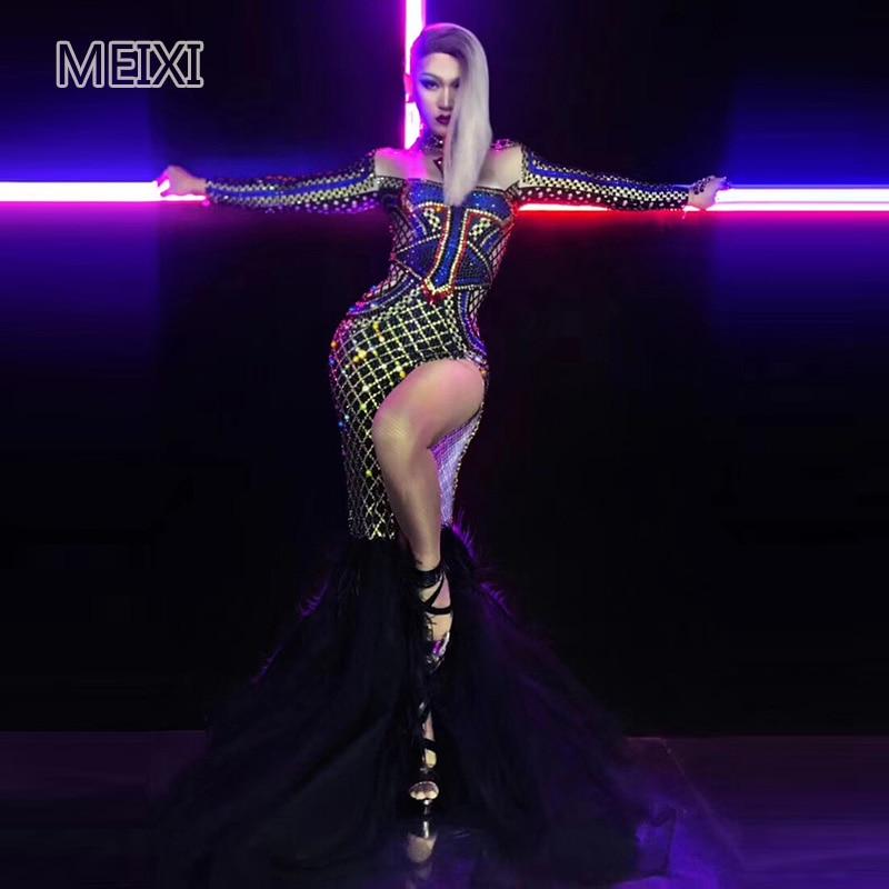 Halloween bleu croix plein diamant glisser la queue élastique bar discothèque concert chanteur danseur costumes