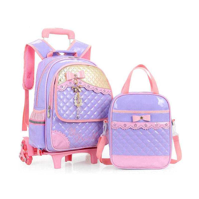 Cartable détachable à 3 roues de bande dessinée sacs d'école de chariot d'enfants pour des filles sac à dos imperméable en cuir d'unité centrale de nouveaux cartables d'enfants