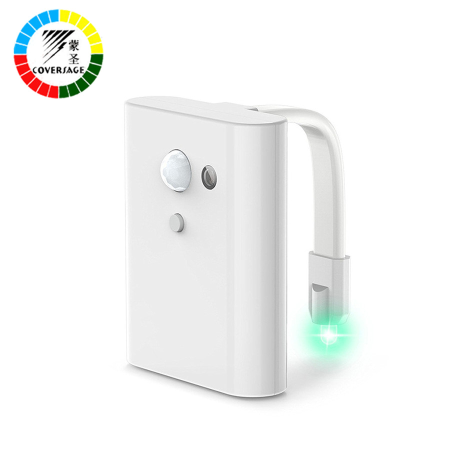 Coversage Smart Toilet Night Light LED Motion Auto Sensor Activated Bathroom With 7 Color Changing Battery Operated Washroom Kid motion sensor led night light smart human body induction nightlight auto on off battery operated hallway pathway toilet lamps