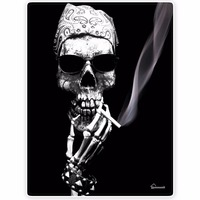 Blankets Comfort Warmth Soft Cozy Air Conditioning Easy Care Machine Wash Skeleton Smoking Wearing Sunglasses Black