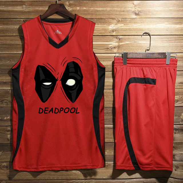 4aaa8ef7ab09 basketball jersey print suit men s Team sportswear deadpool spiderman  superman suit sleeveless T-shirt shorts sports sets male