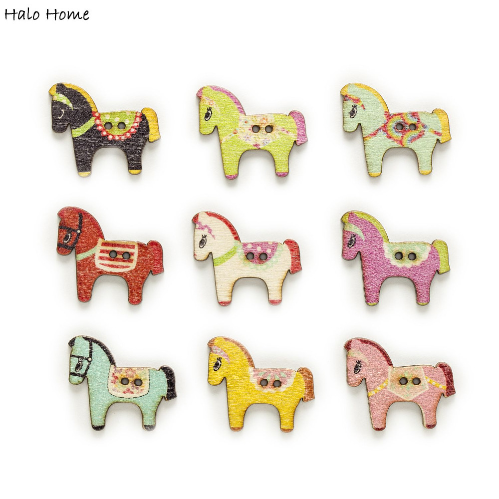 50pcs 2 Hole Multi-color optional Mixed Horse Wood Buttons Clothing Sewing Scrapbooking Home Decor Crafts DIY 29x25mm