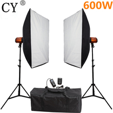 CY Photography Studio Soft Box Flash Lighting Kits 600ws Flash Light*2+Softbox*2+Stand*2 Photo Studio Set Godox Smart 300SDI