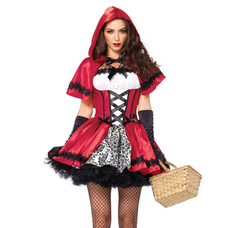 Size S-2XL Halloween Fantasia Little Red Riding Hood Cosplay Costume Adult Women Sexy Game Carnival Uniform Fancy Dress(China)