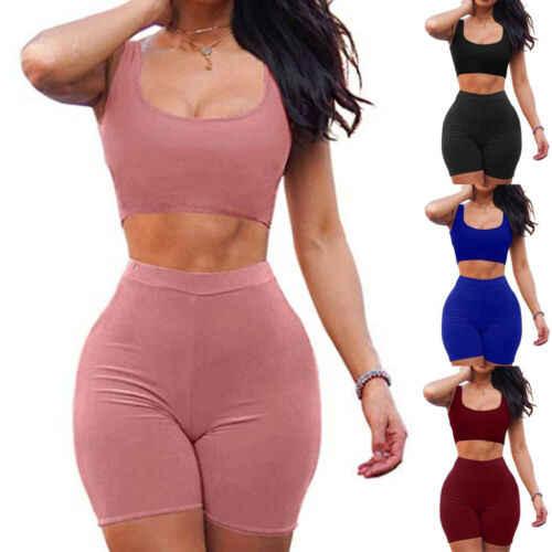 Wanita 2 Piece Set Tanaman Top + Celana Pendek Bodycon Pakaian Olahraga Latihan Pakaian 2019 Musim Panas Seksi Slim Beach Pesta Klub pakaian