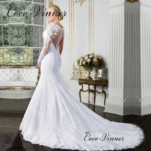 Image 3 - Sheer V neck Long Sleeve Mermaid Wedding Dress 2020 See Through Illusion Back White Wedding Gowns Lace Appliques Bride W0058