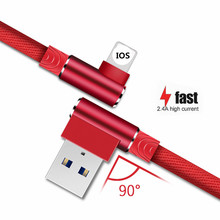 Micro USB Cable 90 Degree Nylon 1M 2M 3M Charger For iPhone Android Type c 2.4A Fast Charging for Huawei Xiaomi