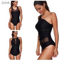 Black Mesh Bodysuit Swimwear Women One Piece Plus Size Swimsuit Sexy Bathing Suit May Bather Indoor