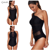 Black Mesh Bodysuit Swimwear Women One Piece Plus Size Swimsuit Sexy Bathing Suit May Bather Indoor