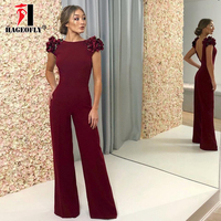 HAGEOFLY High Quality Wine Red Jumpsuit Sexy O Neck Sleeveless Floral Bow Bodycon Long Length Backless Women Jumpsuits 2018