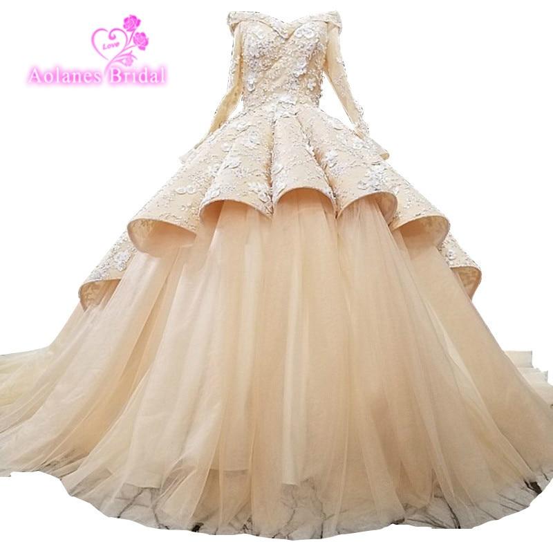 De gama alta tren de novia de encargo de lujo ondas vestido de novia - Vestidos de novia