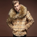Male plus size large fur collar Fashion men's Winter Fur Coat Personality male thermal artificial faux overcoat