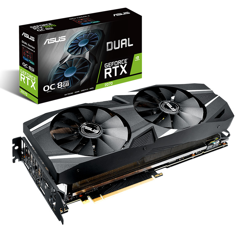 Asus DUAL-RTX2070-O8G Computer Game Graphics Card Support 4 Screen Output