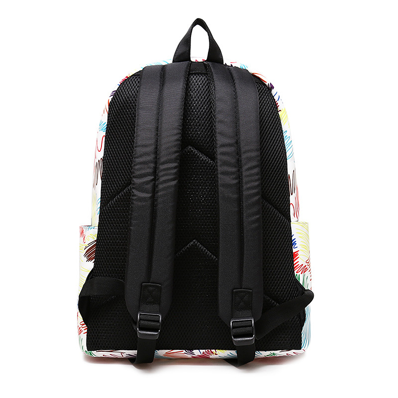 d34070bd7650 2018 Girls School bag Graffiti print design Backpack Female Backpacks  college students Fashion Striped Bag Women Travel Mochilas-in Backpacks  from Luggage ...