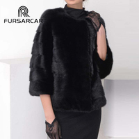 FURSARCAR реального норки пальто женщина черный Цвет натурального обувь из кожи и меха куртка полным ходом зима женский норковая шуба