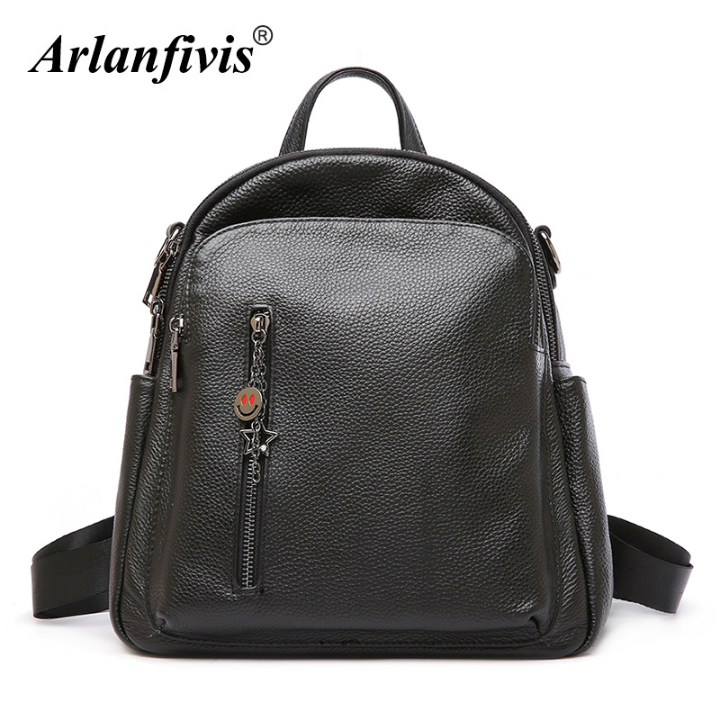 Arlanfivis Genuine Leather Backpack Women Large Capacity Bag Travel Backpacks Cowhide mochilas mujer 2018 Luxury Ladies Casual