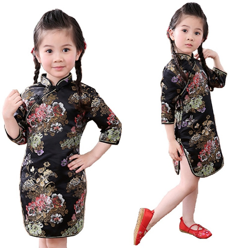 Peony Baby Girls Dress 2018 Chinese Qipao Clothes For Girls Jumpers Party Costumes Floral Children Chipao Cheongsam Jumper 2-16Y 6