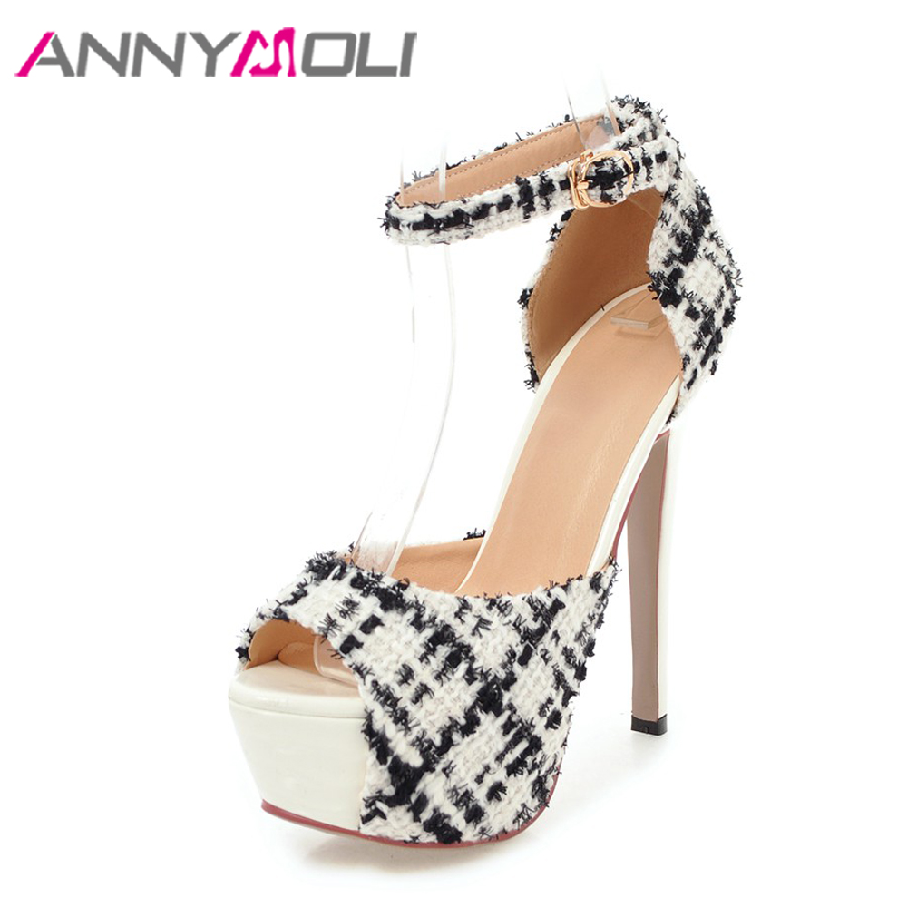 ANNYMOLI Women Sandals Extreme High Heels Platform Shoes Ankle Strap Buckle Peep Toe Ladies Party Shoes Stiletto 2018 Size 33-43 pink palms women summer new black silk platform shoes high heels peep toe ankle strap shoes gold star design sandals