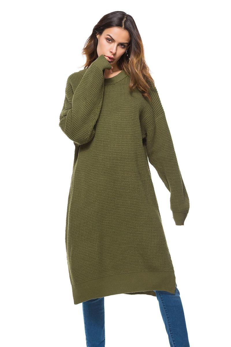 Fall Winter Vintage Mustard Side Slit Crochet Sweater Dress for Women Cute Ladies Retro Cosy Loose Split Pullover One Size 10