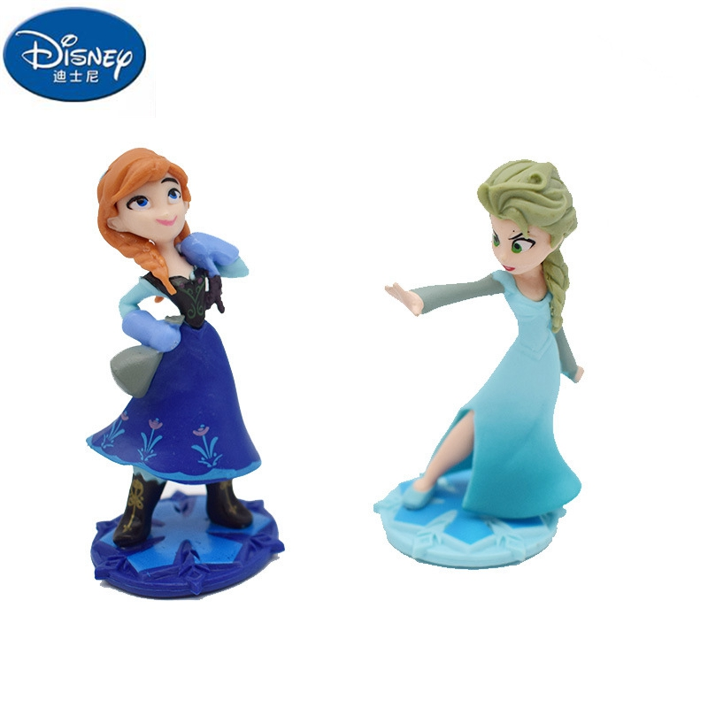 Disney New Children's Action & Toy Figures Toy Decoration Elsa Anna Rapunzel Cake Decoration DIY Anime Model Toys