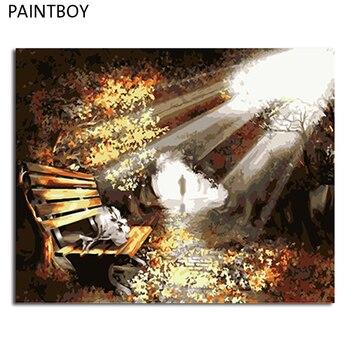 مؤطرة paintboy diy النفط الطلاء بواسطة أرقام المشهد المنزل زخرفة غرفة المعيشة ديكور المنزل