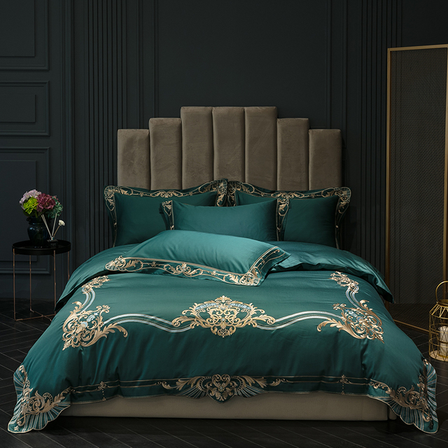 New arrivel 600TC Egyptian bedding sets Red Green Peach bed set queen king size duvet cover Fitted bed sheet set  parure de lit