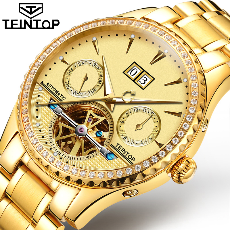 TEINTOP Skeleton Tourbillon Mechanical Watch Men Automatic Classic Gold Stainless Steel Mechanical Wrist Watches Reloj Hombre paradise 2016 classic new men black skeleton automatic mechanical stainless steel wrist watch free shipping may23
