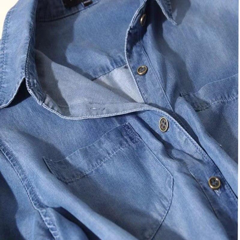 Di Signora Camicia Abito Vestiti Modo Sottile Sciolto Da Cowboy Del Delle  Elegante Jeans Partito Vestito ... ee821154db7c