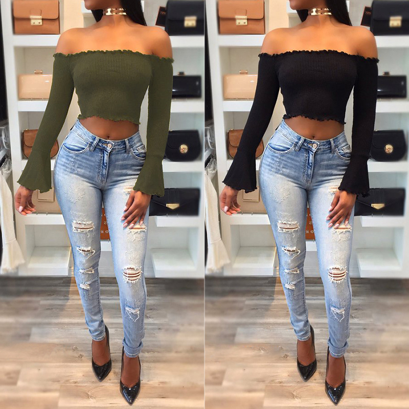 3b7169d76f3 Autumn Women Off Shoulder Crop Top Solid Slim Sweater Sexy Flare Sleeve  Pullover Female Short Knitted Sweater Pull Femme WS2908T-in Pullovers from  Women's ...
