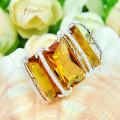 Promotion Gift Special Brazil Citrine Silver Plated Rings Russia USA Holiday Gift Rings Australia Rings