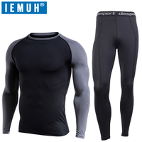 IEMUH New Winter Thermal Underwear Sets Men Quick Dry Anti microbial Stretch Men's Thermo Underwear Male Warm Long Johns Fitness