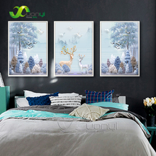 Nordic Style Davids Deer Forest Animal Wall Picture Posters Print Canvas Painting For Living Room Home Decor No Frame